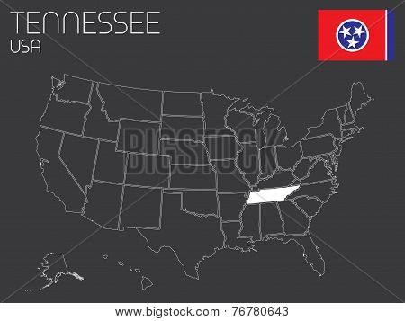 Map Of The The United States Of America With 1 State Selected - Tennessee