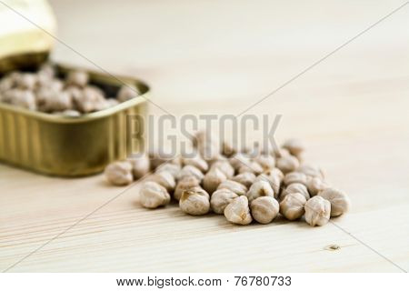 Chickpeas In Tin Can On Wood