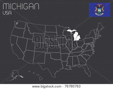 Map Of The The United States Of America With 1 State Selected - Michigan