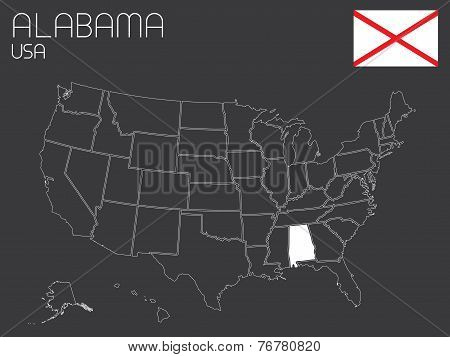 Map Of The The United States Of America With 1 State Selected - Alabama