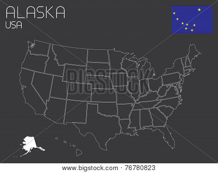 Map Of The The United States Of America With 1 State Selected - Alaska
