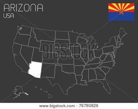 Map Of The The United States Of America With 1 State Selected - Arizona