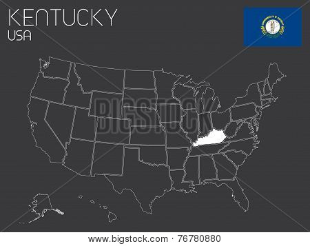 Map Of The The United States Of America With 1 State Selected - Kentucky
