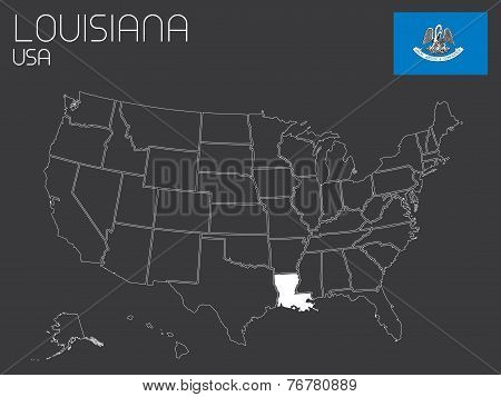 Map Of The The United States Of America With 1 State Selected - Louisiana