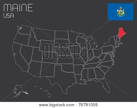 Map Of The The United States Of America With 1 State Selected - Maine