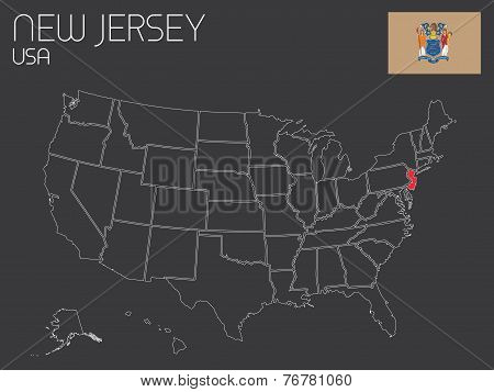 Map Of The The United States Of America With 1 State Selected - New Jersey