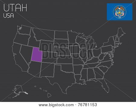 Map Of The The United States Of America With One State Selected - Utah