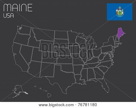 Map Of The The United States Of America With One State Selected - Maine