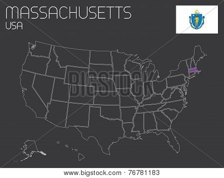 Map Of The The United States Of America With One State Selected - Massachusetts