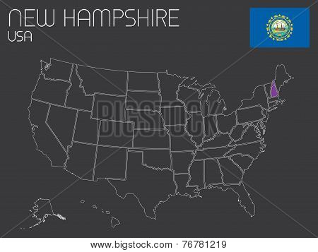 Map Of The The United States Of America With One State Selected - New Hampshire