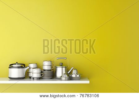 Shelf in kitchen with dishes and kitchenware in front of a yellow wall (3D Rendering)