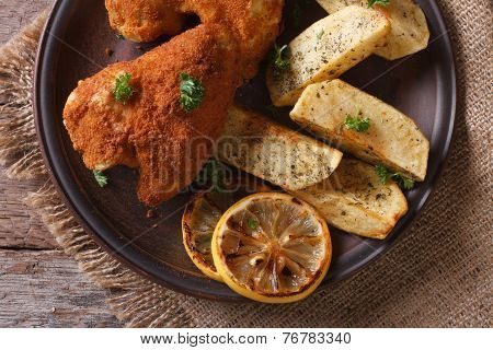 Chicken Wings In Batter Closeup With Garnish, Top View Horizontal