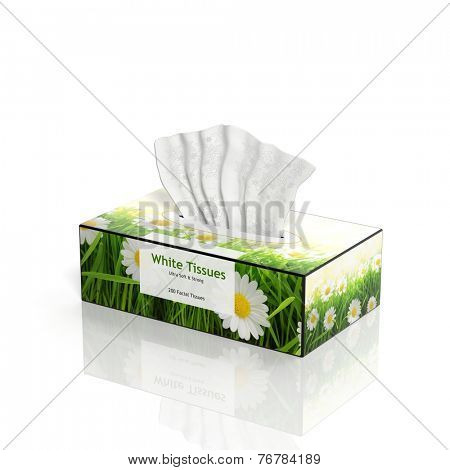 3D Tissues paper box isolated on white