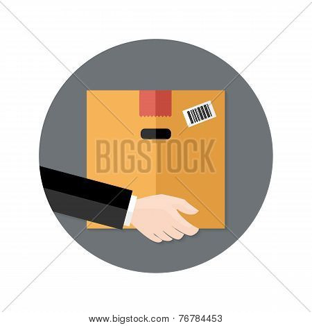 Delivery Flat Circle Icon Hand Holding Package