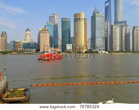 View of Huangpu river and part of Lujiazui district Pudong Shanghai China