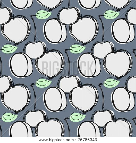 Fruit pattern for your design. Background of fruit: apple, peach, cherry.