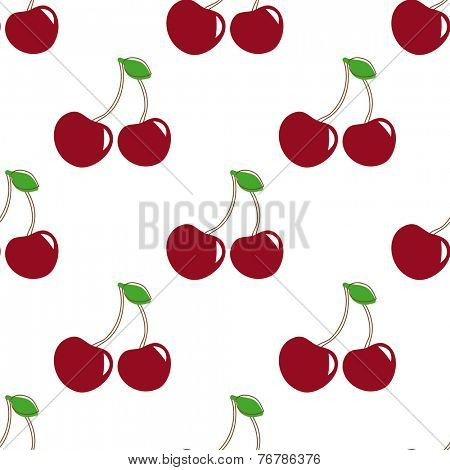 Seamless pattern with  berry cherry. Endless repeating print background texture. Fabric design. Vector pattern