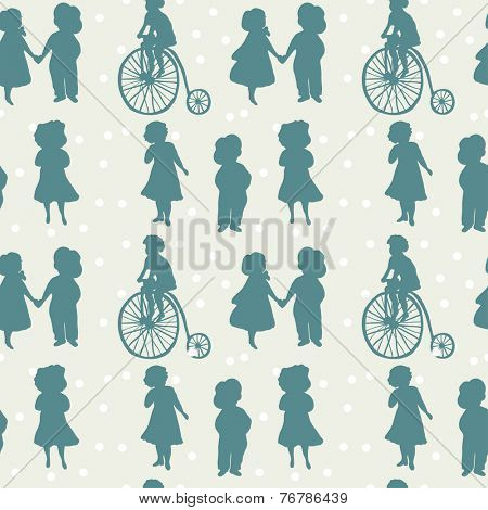 Vintage seamless pattern with boys and girls in retro style. Vintage childrens. Boy and girl couple. Boy on vintage bicycle. Boy in hat.