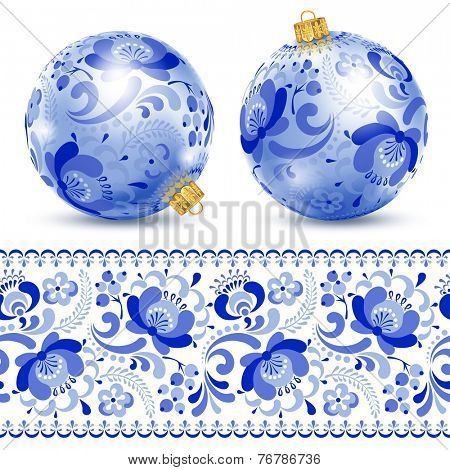 Beautiful christmas ball with pattern in Russian style gzhel.