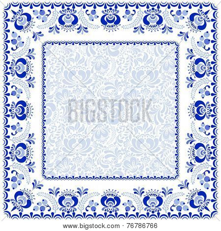 Beautiful background and frame in Russian style gzhel.
