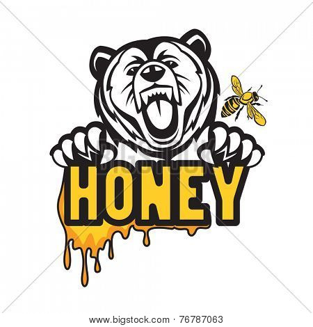 design with bear, bee and honey