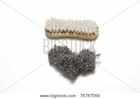 Dirty Wash Brush And Steel Wool