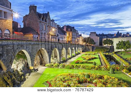 Flower Garden At The Castle Walls In The City Vannes
