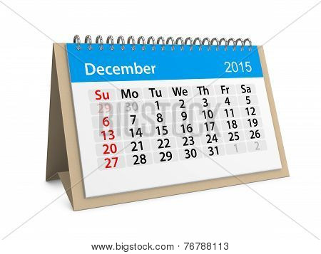Monthly Calendar For Year 2015. December