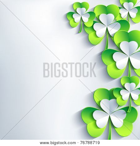Stylish St. Patrick's Day Card With Grey And Green Leaf Clover