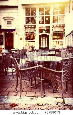 Empty Street Cafe Terrace In Autumn City