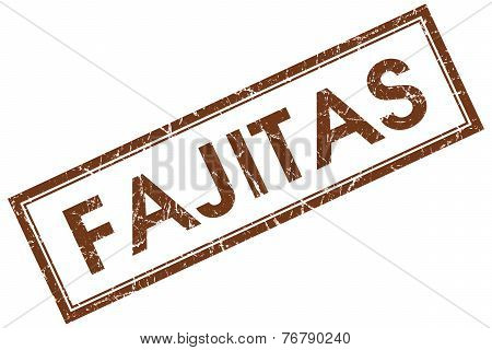 Fajitas Brown Square Stamp Isolated On White Background