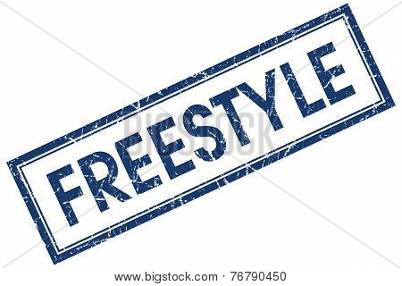 Freestyle Blue Square Stamp Isolated On White Background