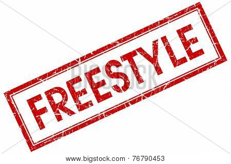 Freestyle Red Square Stamp Isolated On White Background