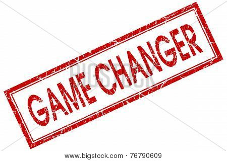 Game Changer Red Square Stamp Isolated On White Background