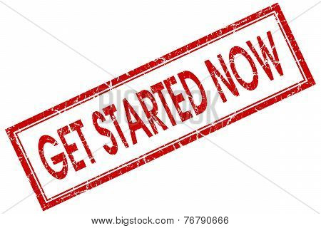 Get Started Now Red Square Stamp Isolated On White Background