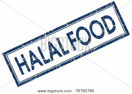 Halal Food Blue Square Stamp Isolated On White Background