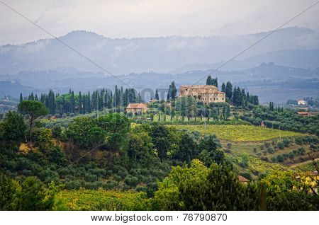 Typical Landscape In The Tuscany, Italy.