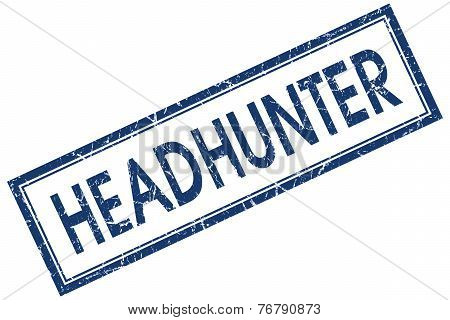 Headhunter Blue Square Stamp Isolated On White Background