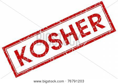 Kosher Red Square Stamp Isolated On White Background