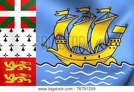 Flag Of Saint Pierre And Miquelon, France.