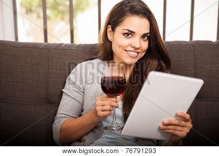 Happy Girl Drinking Wine