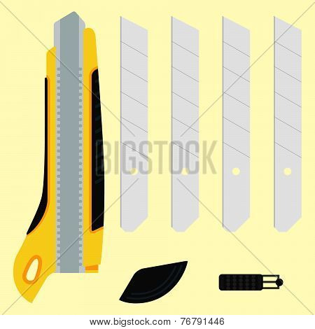 Cutter Knife (office Paper Knife) With Details