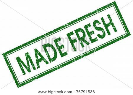 Made Fresh Green Square Stamp Isolated On White Background