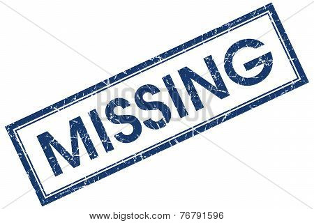 Missing Blue Square Stamp Isolated On White Background