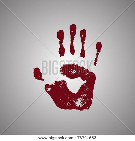 Bloody handprint isolated on white background
