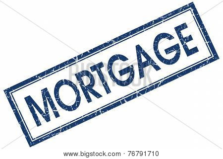 Mortgage Blue Square Stamp Isolated On White Background