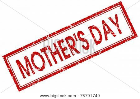 Mothers Day Red Square Stamp Isolated On White Background