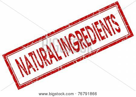Natural Ingredients Red Square Stamp Isolated On White Background