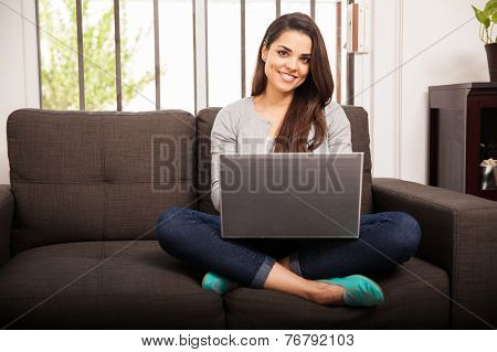 Pretty Girl Using A Laptop