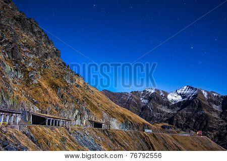 Mountains And Empty Road At Night